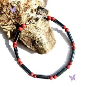 Men's Red Jasper Hematite Tube Bracelet